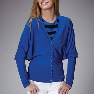 NWT Rondina Blue Button Down Wing Arm Cardigan